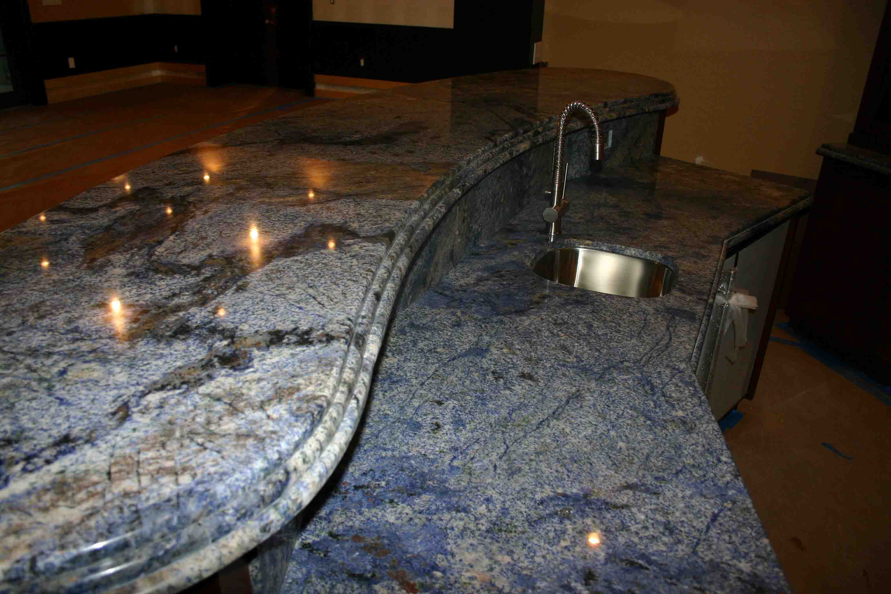 Top Granite : Custom Blue Granite Bar top view of top only
